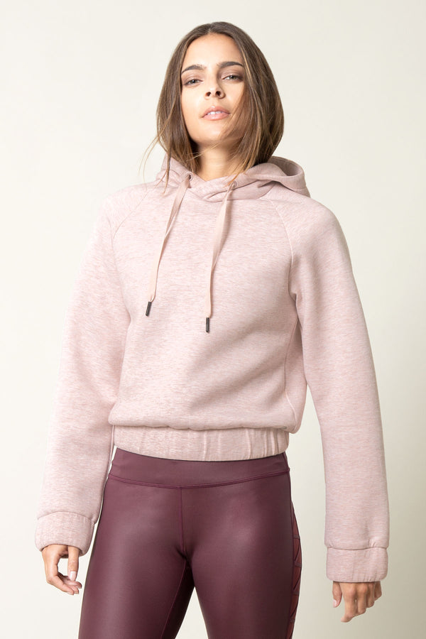 MPG Sport's clearance warehouse women's Chamber Cropped Engineered Fleece Sweatshirt in Htr Fawn Pink