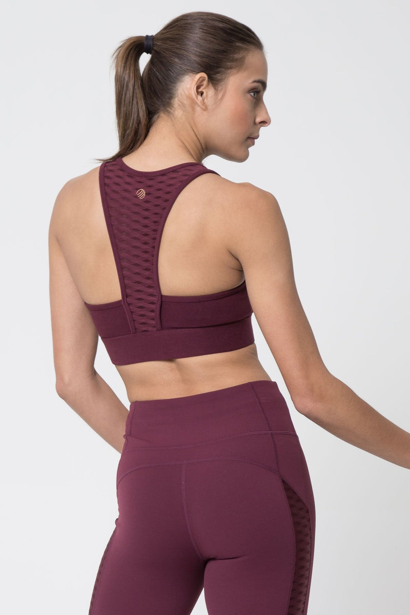 MPG Sport's clearance warehouse women's Mosaic Diamond Mesh Medium Support Sports Bra in Fig Purple