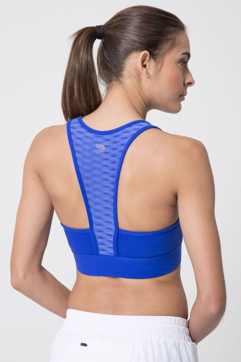 MPG Sport's clearance warehouse women's Mosaic Diamond Mesh Medium Support Sports Bra in Lapis Blue