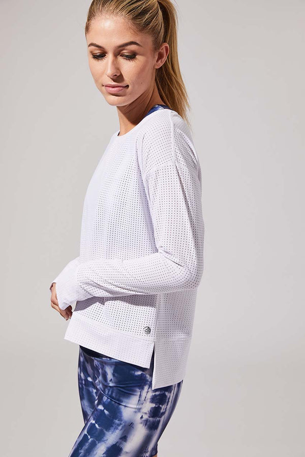 MPG Sport women's Intention Engineered Mesh Pullover - Sale in White
