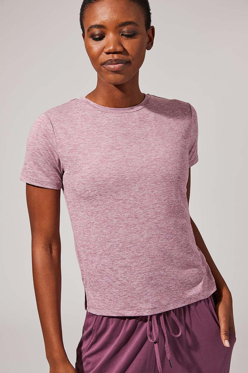 MPG Sport women's Kickoff Recycled Polyester Tee in Htr Dusty Rose