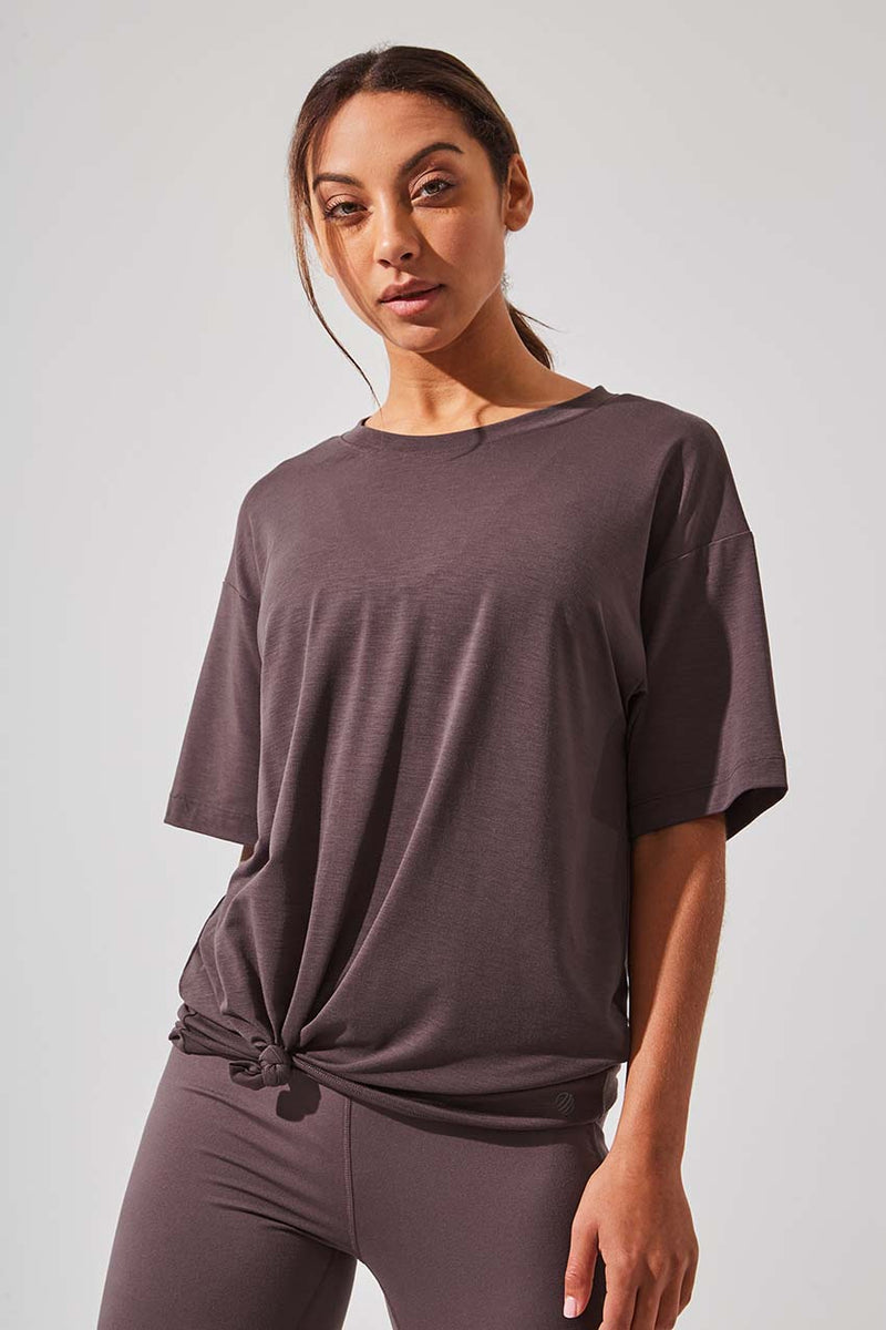 MPG Sport women's Ethos Recycled Polyester Oversized Tee in Satin Brown