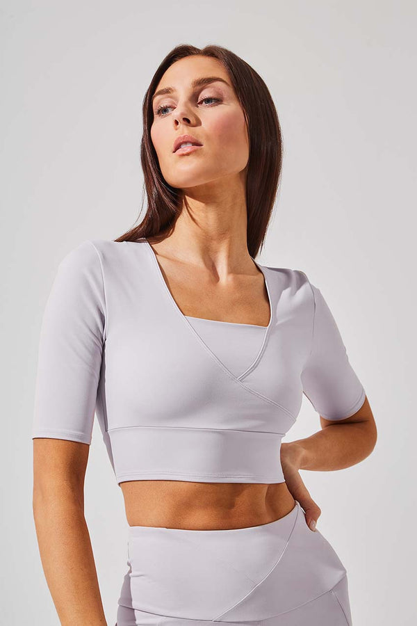 MPG Sport women's Define Recycled Polyester Half Sleeve Crop Top in Dusty Petal