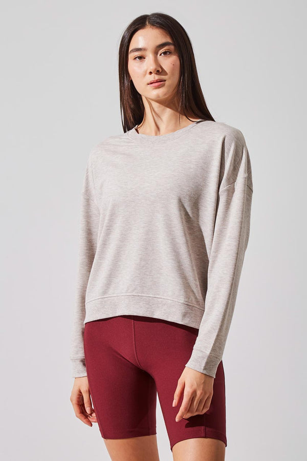 MPG Sport women's Cruise Modal Terry Cover Up Top in Htr Oatmeal