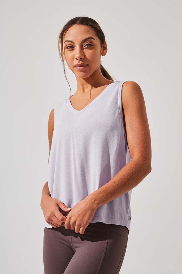 MPG Sport women's Exalt Natural Modal Sleeveless V-Neck Top in Dusty Petal