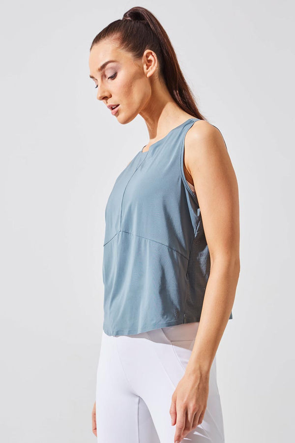 MPG Sport women's Chakra Perforated Cropped Tank in Stormy Blue