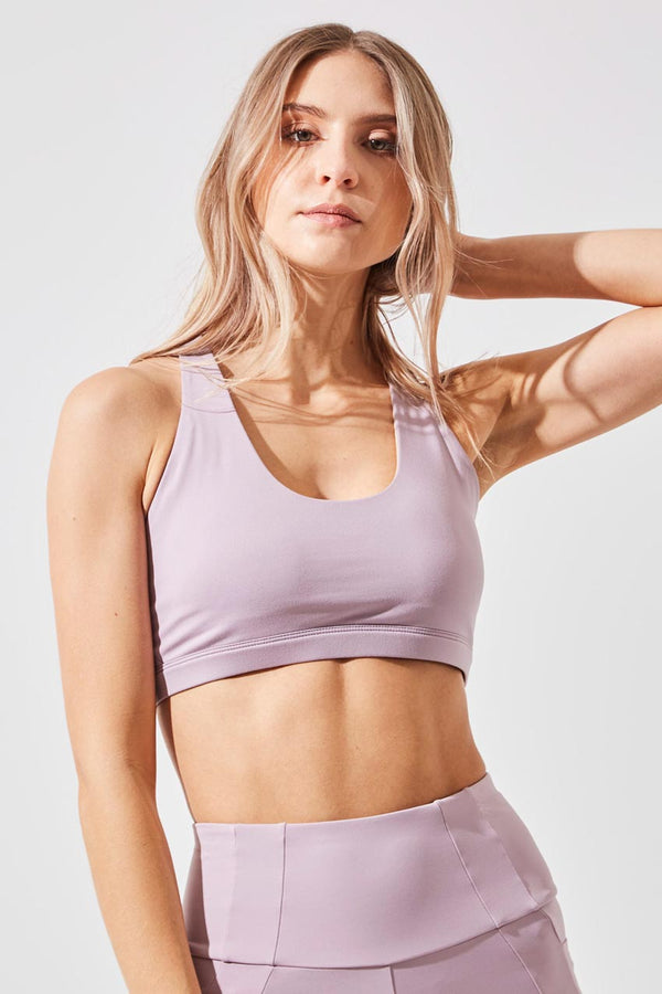 MPG Sport women's Exert Recycled Polyester Medium Support Bra in Dusty Purple