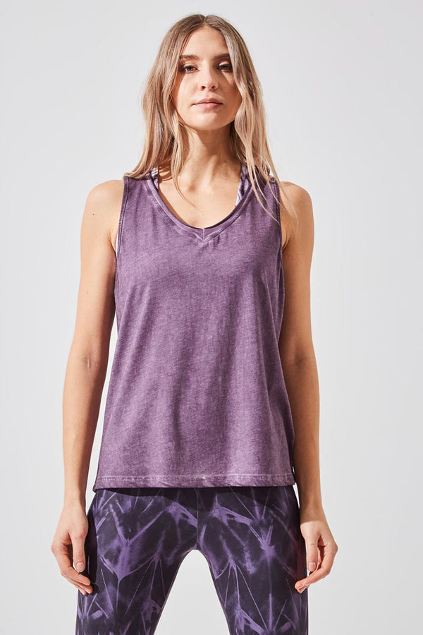 MPG Sport women's Flame Relaxed V-Neck Tank in Purple Powder