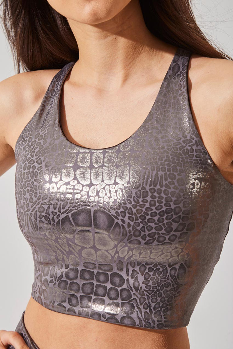 Crave Glossy Alligator Print Medium Support Bra Top