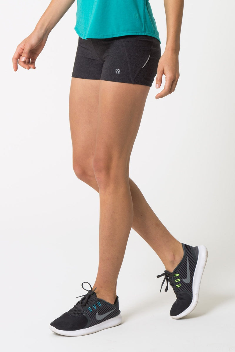 "MPG Sport's clearance warehouse women's Electrolyte Signature 3"" Hot Short in Htr Charcoal Grey"