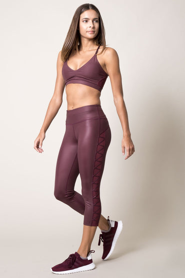Reveal Metallic-Look Lace-Up Capri