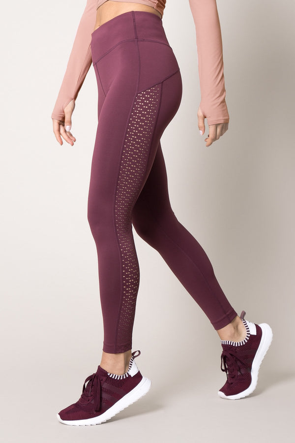 MPG Sport's clearance warehouse women's Haven 7/8 High Waisted Laser Cut Legging in Soft Plum Purple