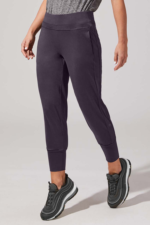 MPG Sport women's Embrace Recycled Polyester Cropped Jogger in Purple Charcoal