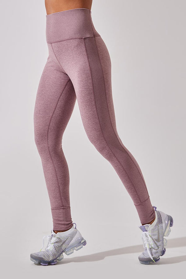 MPG Sport women's Blast-Off High Waisted Recycled Polyester Legging in Htr Grape Shake