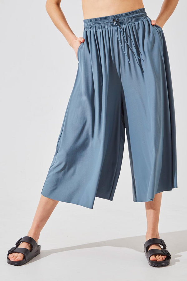 MPG Sport women's Groove Luxe Tactel® Cropped Wide Leg Pant in Stormy Blue