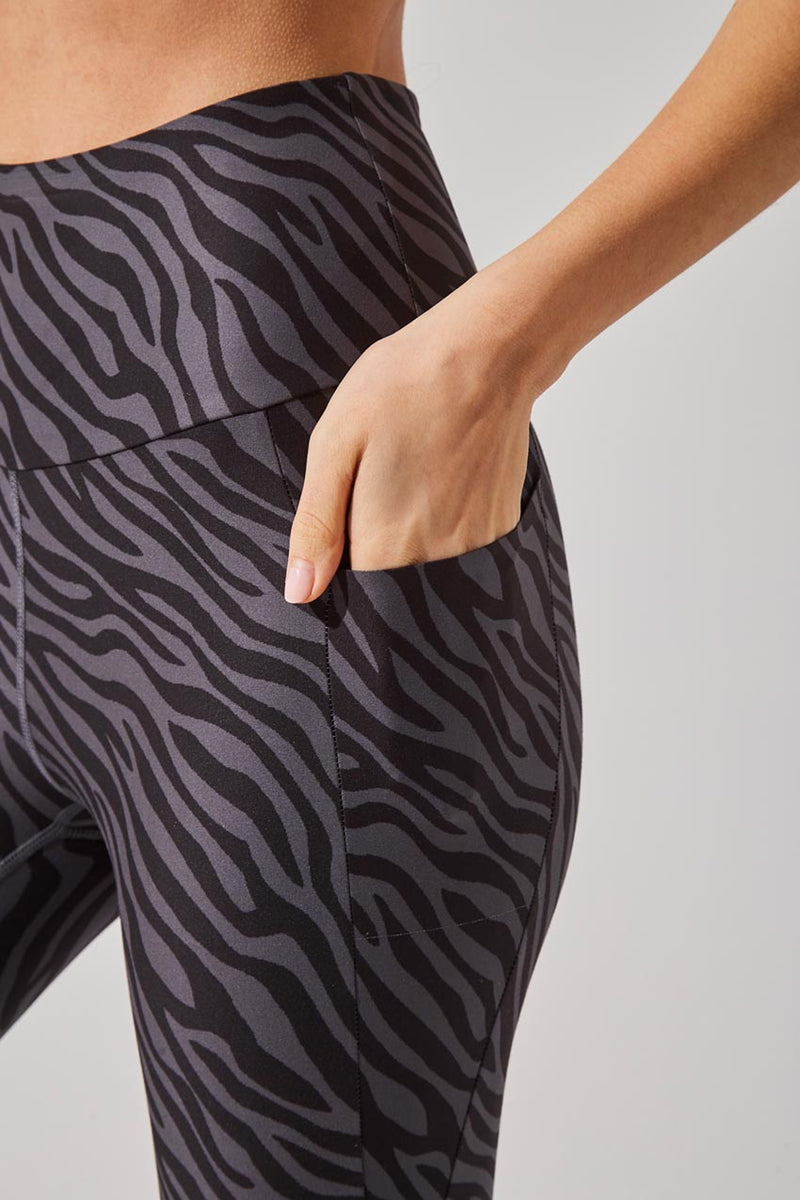 Score Recycled Polyester Zebra Print High Waisted 7/8 Legging