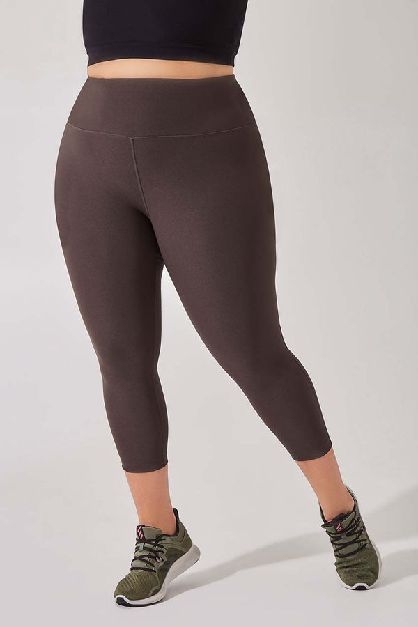 MPG Sport women's Dashing High Waisted Recycled Polyester Capri - Plus in Burnt Olive
