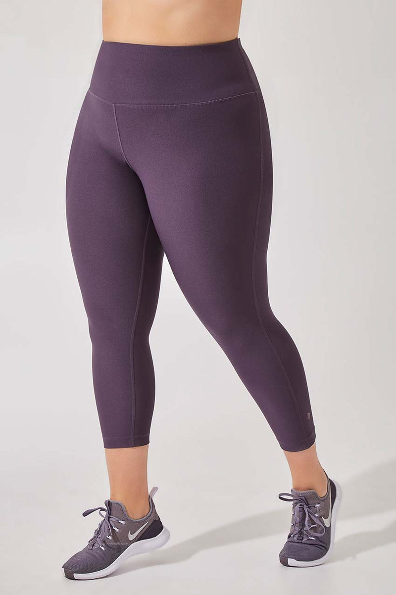 MPG Sport women's Dashing High Waisted Recycled Polyester Capri - Plus in Purple Charcoal