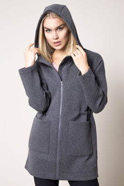 MPG Sport's clearance warehouse women's Court Everyday Engineered Fleece Jacket in Htr Charcoal Grey