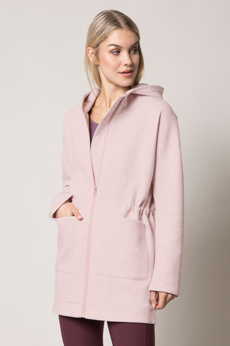 MPG Sport's clearance warehouse women's Court Everyday Engineered Fleece Jacket in Htr Fawn Pink