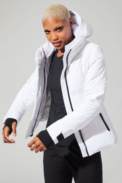 MPG Sport's clearance warehouse women's Empress Down Filled Puffer Jacket in White