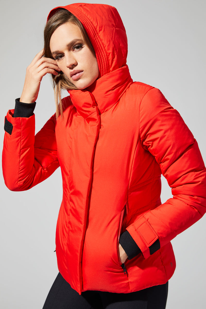 MPG Sport's clearance warehouse women's Empress Down Filled Puffer Jacket in Fiery Red
