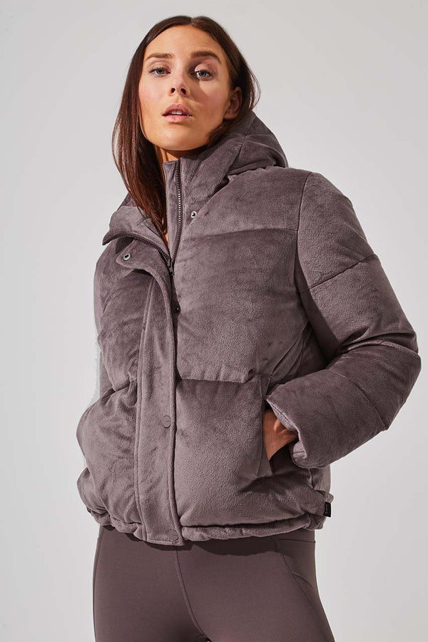 MPG Sport women's Altitude Down Filled Short Puffer Jacket in Satin Brown