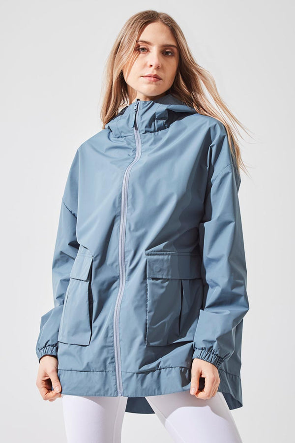 MPG Sport women's Escapade Recycled Polyester Oversized Reversible Jacket in Stormy Blue/Blue Stone