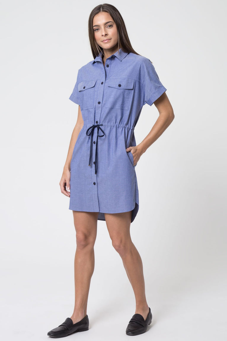 Renew Technical Cotton Chambray Cargo Dress