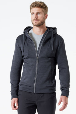 MPG Sport's clearance warehouse men's Advantage Stretch Fleece Hoodie in Htr Charcoal Grey