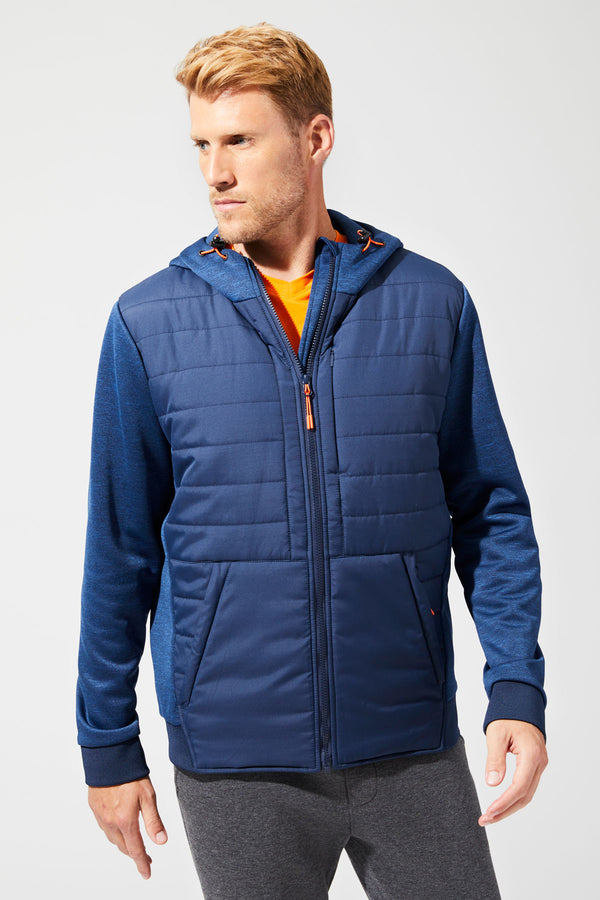 MPG Sport's clearance warehouse men's Bold Mixed Media Jacket in Navy Sky Blue