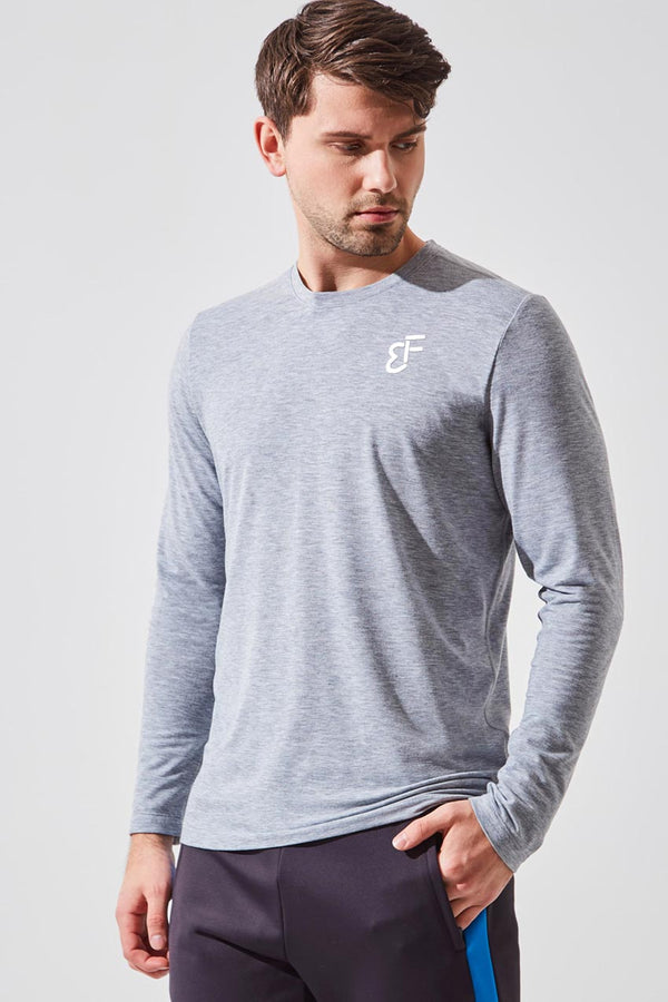 MPG Sport men's NHL Captain Blake Wheeler collection Recharge Sustainable Stink-Free Long Sleeve in Htr Concrete