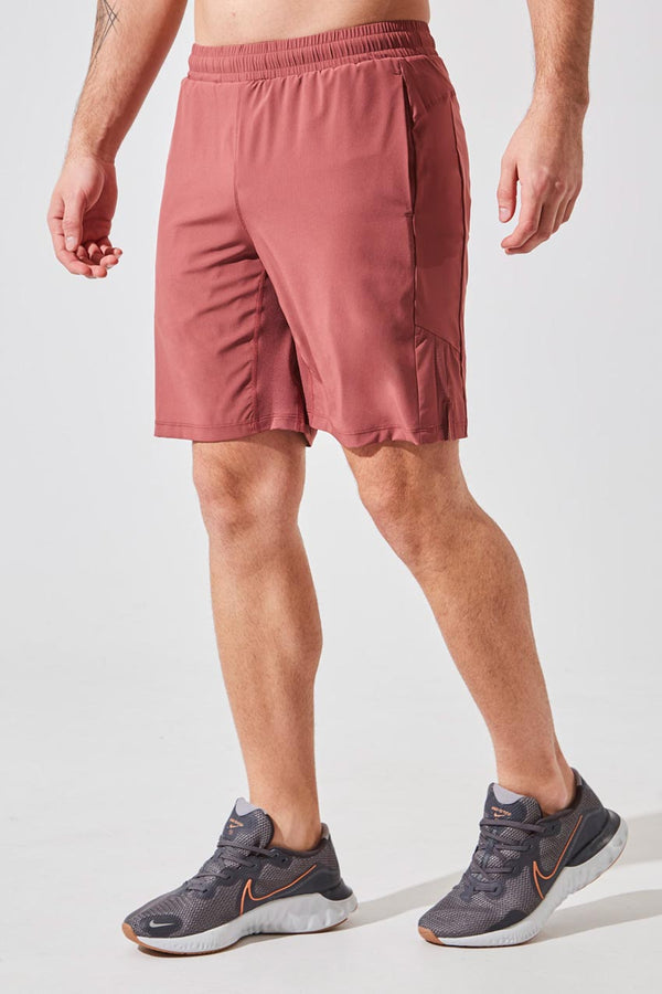 "MPG Sport men's Crux 9"" Recycled Polyester Short with Liner in Salmon"