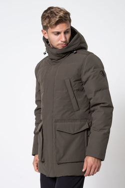 MPG Sport's clearance warehouse men's Icecap Down Filled Parka in Olive Green