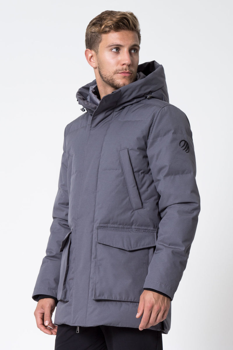 MPG Sport's clearance warehouse men's Icecap Down Filled Parka in Charcoal Grey