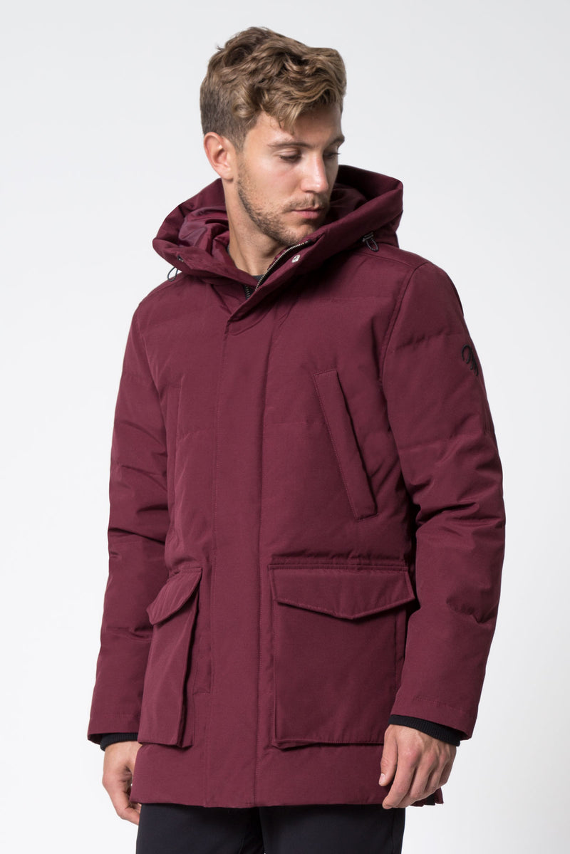 MPG Sport's clearance warehouse men's Icecap Down Filled Parka in Zinfandel Red