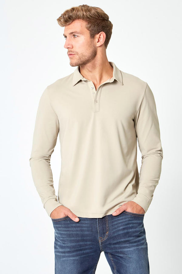 Modern Ambition work-ready men's Endgame Sustainable Long Sleeve Polo in Simply Taupe