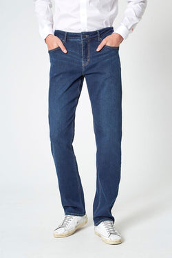 Modern Ambition work-ready men's PerformFit Escape Straight Washed Indigo Jeans in Washed Indigo