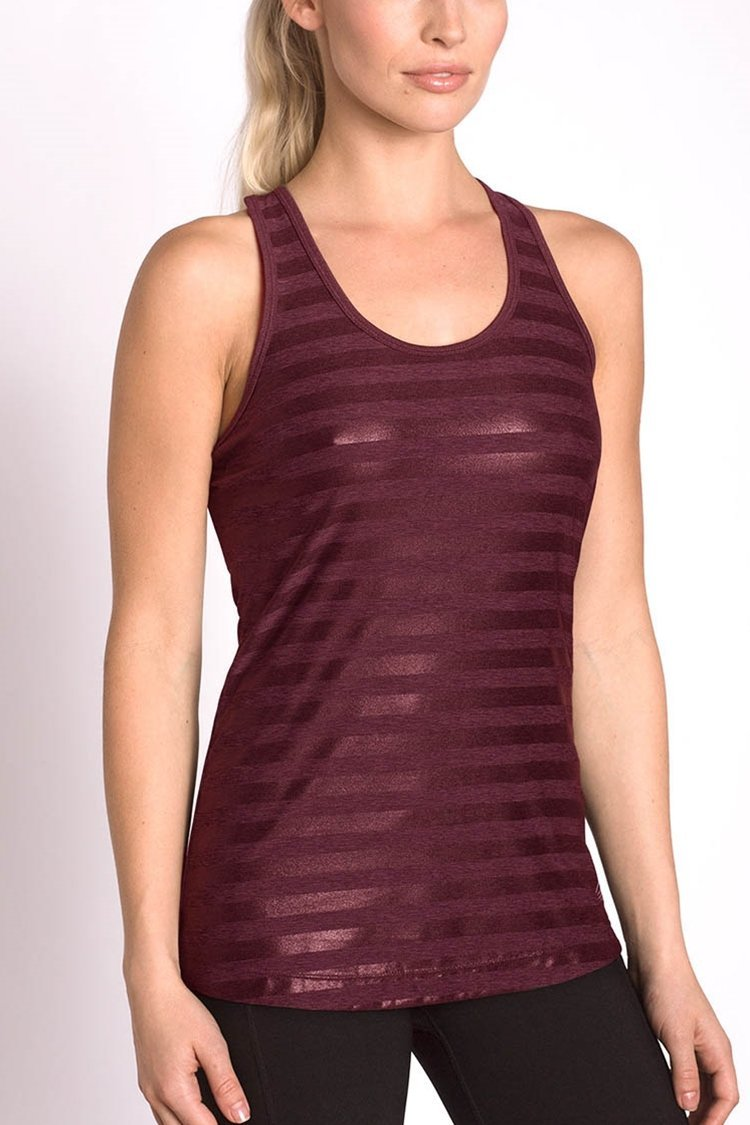 MPG Sport's clearance warehouse women's Glam Tank in Grape Wine Purple