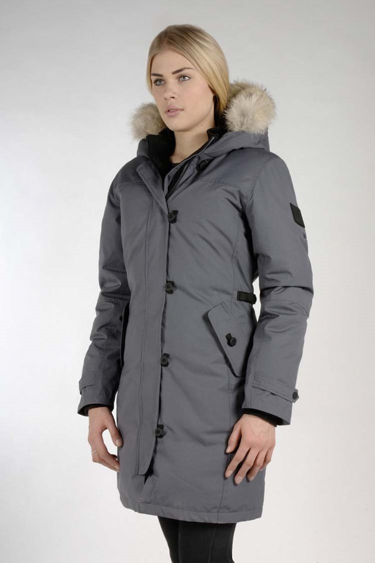 MPG Sport's clearance warehouse women's Metro Down Parka in Charcoal Grey
