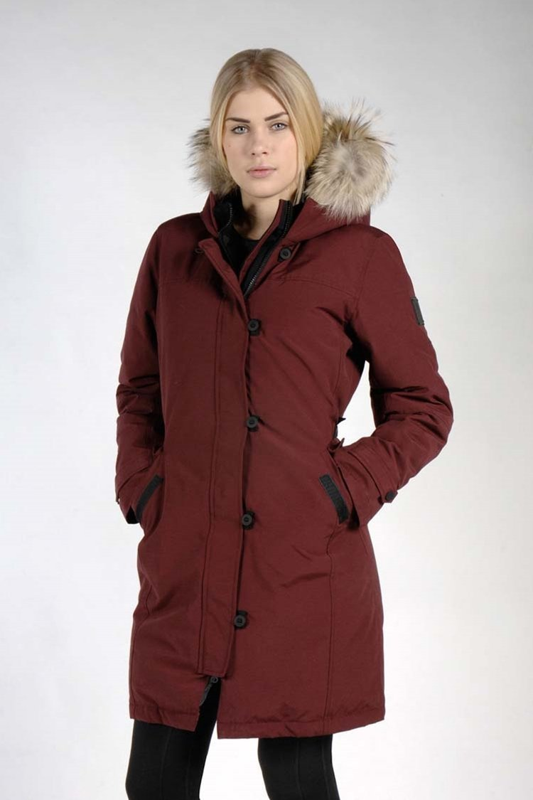 MPG Sport's clearance warehouse women's Metro Down Parka in Zinfandel Red