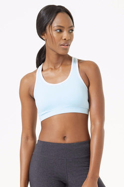 MPG Sport's clearance warehouse women's Accomplish 2.0 Maximum Support Keyhole Bra in Chambray Blue