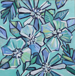 Floral Party in Blue and Green - Original Painting on Wood