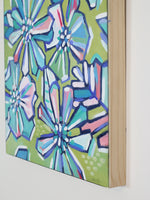Floral Party in Pink and Green - Original Painting on Wood