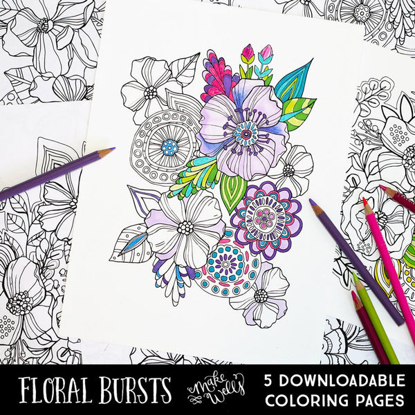 Floral Bursts Downloadable Coloring Pages
