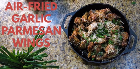 Air Fryer Caribeque Crispy Garlic Parmesan Wings