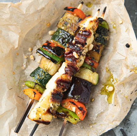 Roccbox Pesto and Halloumi Vegetable Skewers