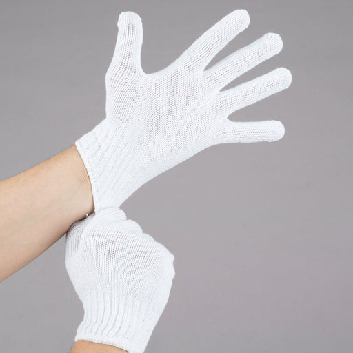 Standard Weight White Polyester / Cotton Work Gloves Large 12pk