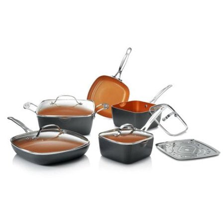 Gotham Steel Non-Stick 10 Piece Square Frying Pan and Cookware Set  602850