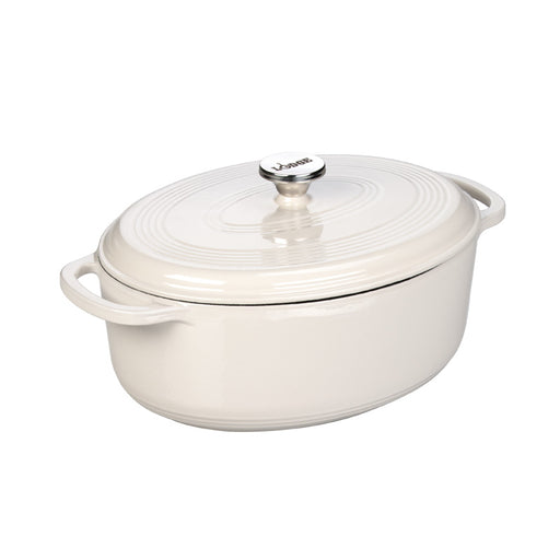 Lodge 7 Quart Enameled Oval Dutch Oven, Oyster White